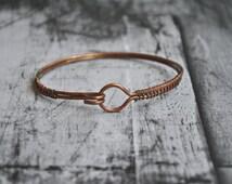Mens raw oxidized copper wire wrapped cuff bangle bracelet | copper bracelet | unisex copper bracelet | mens copper bracelet | pulsera cobre