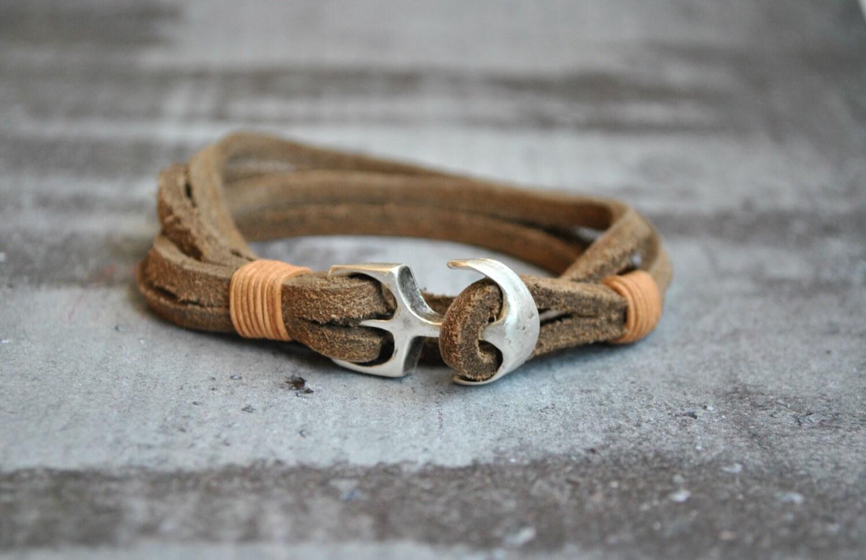 distressed leather anchor mens nautical bracelet sailor
