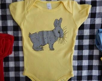 RABBIT print, American Apparel BABY Lap T-shirt or Onesie, 3-24 mos