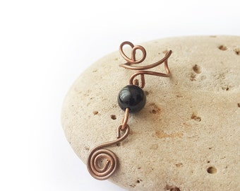 Copper ear cuff Black onyx ear cuff Non pierced ear cuff Black onyx jewelry Ear cuff Boho ear cuff Swirl ear cuff Wire ear cuff Ear wrap
