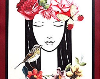 Wall Art - Rose Crown - Drawing Collage - OOAK