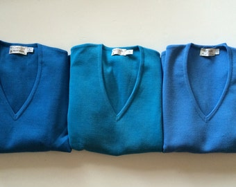 St. Croix Sweater -Stunning! - Fine Zephyr Wool - 3 Available - Amazing Shades of Blue - Ocean French Mediterranean