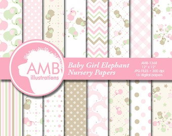 Nursery digital papers, Baby papers, Newborn papers, Nursery Pastel papers, Elephant papers, commercial use, AMB-1368