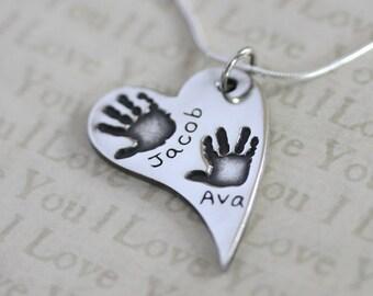 Handprint Necklace, Hand Print Necklace, Handprint Charm, Handprint Pendant, Handprint Jewellery, Silver Handprint, Personalised Jewellery