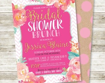 """Floral Bridal Shower Invitation - Watercolor and Chevrons Floral Bridal Shower Brunch Invitation in Pinks, Corals and Aqua, 5"""" x 7"""""""