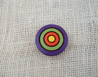 Hand Painted Wooden Bullseye Refrigerator Magnet