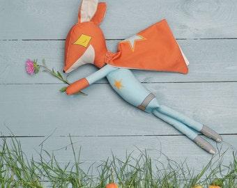 MR FOX SUPERHERO - Plushie Stuffed Toy - Fox Softie for Boy - Woodland Animal Doll