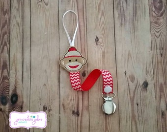 Feltie Sock Monkey Pacifier Holder