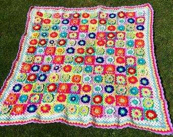 "Floral Crochet Granny Squares Throw Afghan Sofa Campervan 40"" x 40"""
