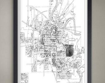 Ann Arbor Map Print, Black and White Ann Arbor Wall Decor