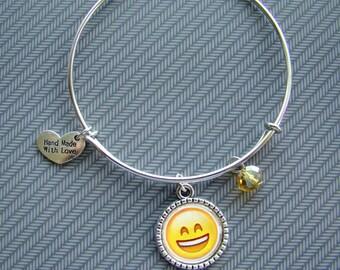 Expandable bangle emoji bracelet, charm bracelet, stackable bracelet