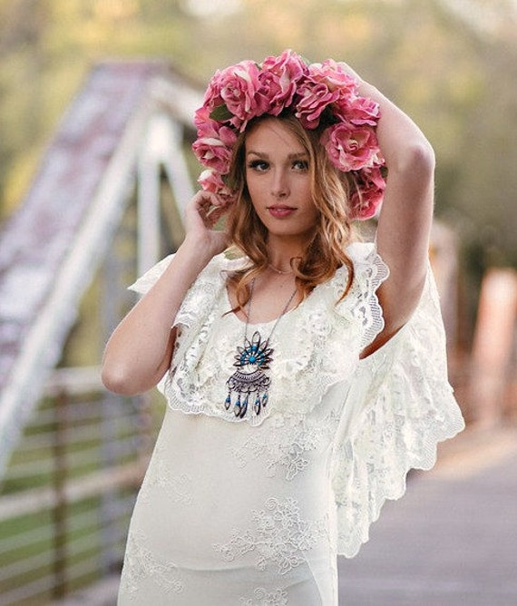 Boho Lace Wedding Dress Etsy : Lace wedding dress boho ruffle