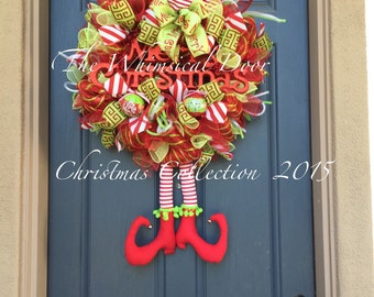 Nickamus Naughty Elf Wreath Elf Leg and Hat Wreath Christmas Elf Wreath Christmas Wreath