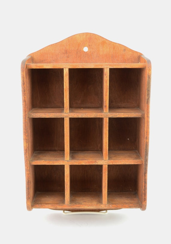 Vintage Wooden Shadow Box 9 Compartments Trinket Shelf Wall