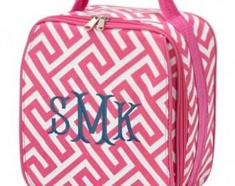 Monogram Pink Greek Key Lunchbox