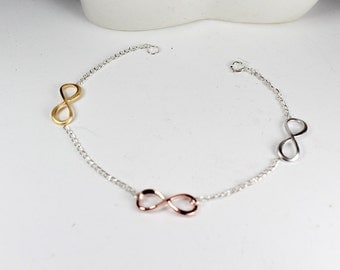 Three Sisters Infinity Bracelet.Three tone infinity Jewelry.3 Best Friends Jewelry,,Mom,Sister,Wife,Bridesmaid Gift.three color infinity