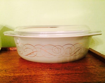 Vintage Pyrex RARE Golden Scroll or Green Scroll Promotional Oval Casserole #045 with Lid 1960's