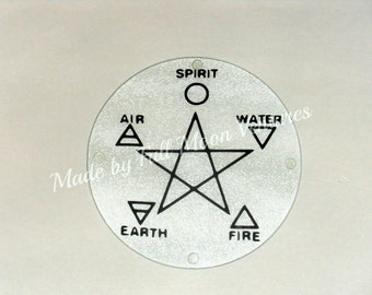 "Glass Alter  plate / dish , glass / cutting board Elemental Pentacle "" -    8 inche tempered glass Wiccan / Pagan"
