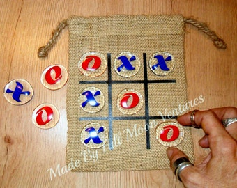 Tic tac toe Travel game kids game classic game glass and bulap bag board game kids gift family fun valentines day gift birthday gift
