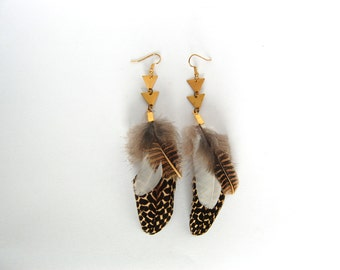 Brass Triangle Drop Feather Earring - Brown Pheasant and Duck