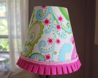 Kids Lampshade, Kumari Garden Lamp Shade, Teja Fabric, Girly, Little Girls Room, Baby Nursery Decor, Pastel, Bedside Table, Floral, Pinkl