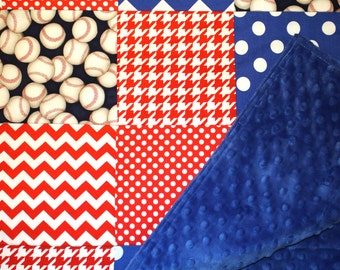 Baby Boy Patchwork Quilt - Baby Quilt - Baby Blanket - Minky Baby Patchwork, Baseball Quilt Red, Royal Blue, Baby Nursery, Baseball Baby