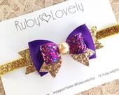 Baby Purple Bow, Purple and Gold Bow, Purple Gold Headband/Clip, Birthday bow, Purple Glitter Bow, Purple Headband, Ruby Lovely Shop