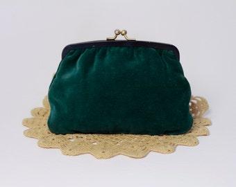 50's small velvet green pochette/ 50's small purse/ clutch bag