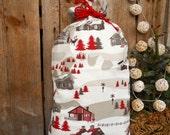 Swedish Christmas Nordic Christmas Sack Swedish Fabric Christmas Decor Scandinavian Houses God Jul Gift Bag Santa Sack Finland Gift Wrap
