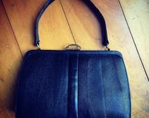 1940s Mappin and Webb back lizardskin handbag