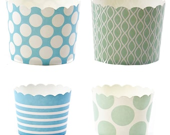 24 Blue/Green Baking Cups, Paper Cups,Party Cups, Wedding, Birthday,  Baby Shower
