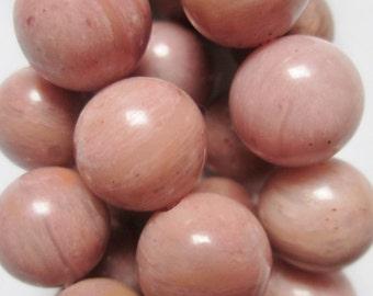 "Genuine Rhodonite Beads - Round 10 mm Gemstone Beads - Full Strand 16"", 40 beads, A-Quality"