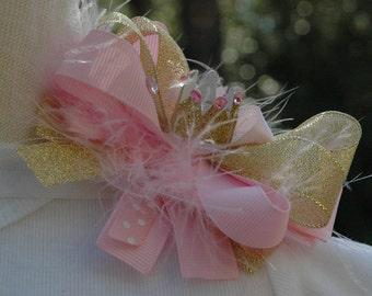 Baby girl princess crown hair bow, gold and pink crown headband, newborn hair bow, newborn princess bow, birthday princess crown, photo prop