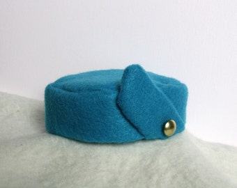 Infant Youth Vintage Blue Flight Attendant Stewardess Hat on white crochet headband