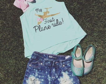 My first plane ride - girls first airplane trip shirt