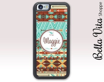 Aztec iPhone 5 Case - Aztec Tribal Blue Brown - iPhone 5S Case I5S