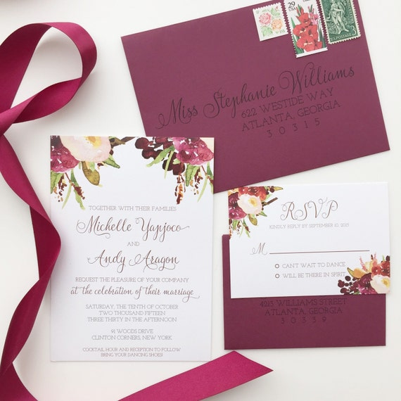 marsala wedding invitation burgundy floral by With etsy marsala wedding invitations