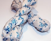 Recycled Sari Silk Ribbon Hank - Hand Printed - White with Blue Leaf