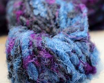 Recycled Sari Silk Yarn Hank - Charcoal, Blue and Purple