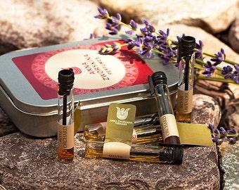 Landscape natural perfume sample set- 7 samples 0,5 ml of fresh, green, shiny perfumes