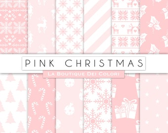 Pink Christmas digital paper, background, christmas tree, stars, snowflakes girly background for Commercial Use