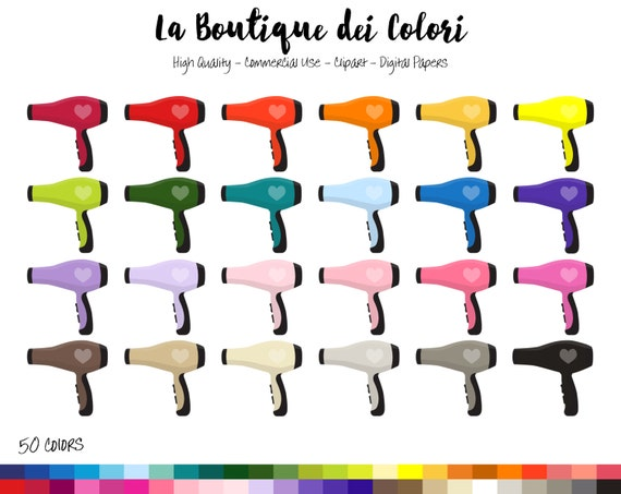 50 Rainbow Hair Dryer Clip art, Colorful illustrations PNG, Hair ...