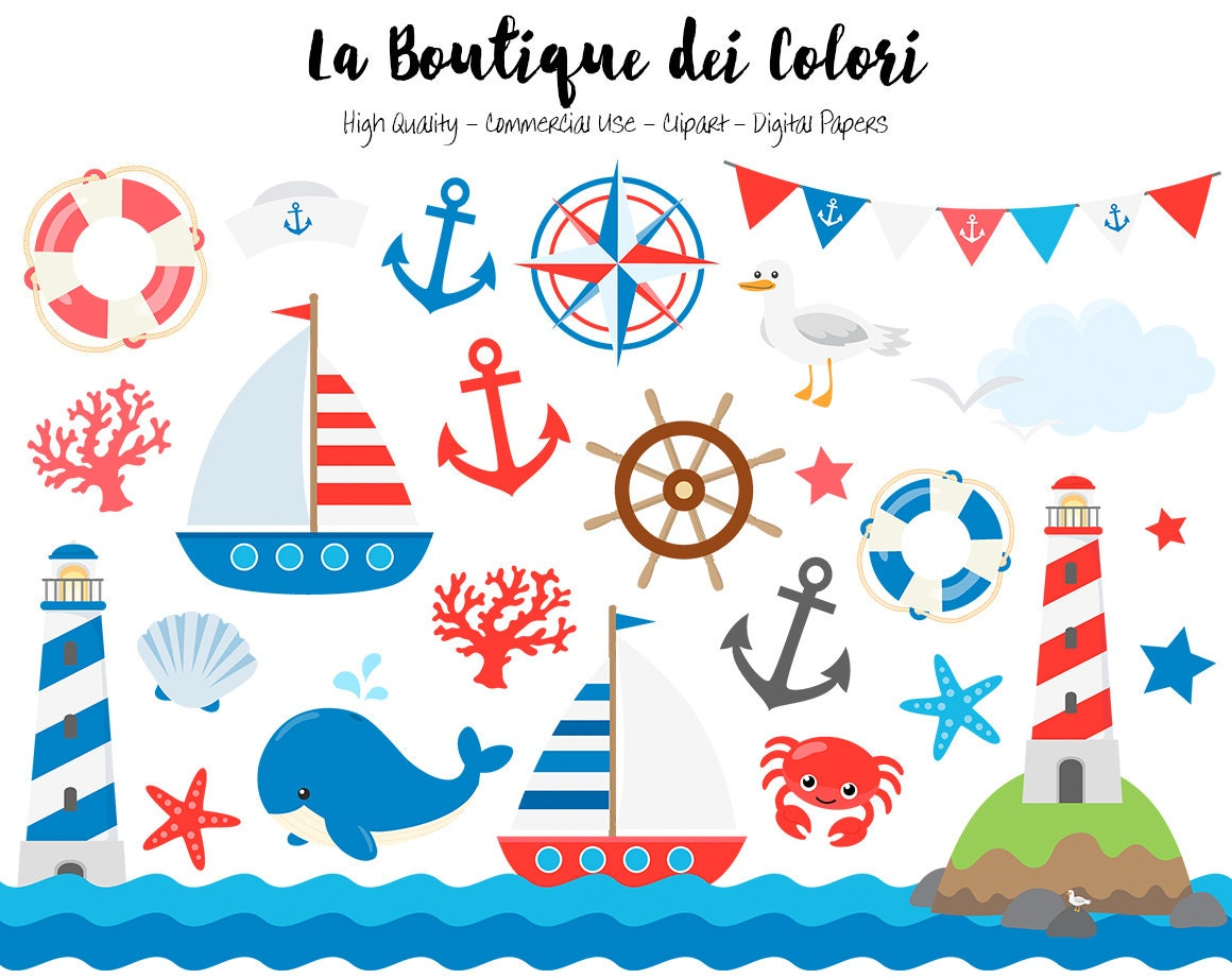 Classic Nautical Clipart Cute Vector Graphics and PNG Sea