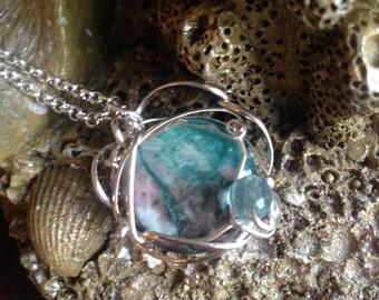 Scenic agate underwater scene mermaid's necklace