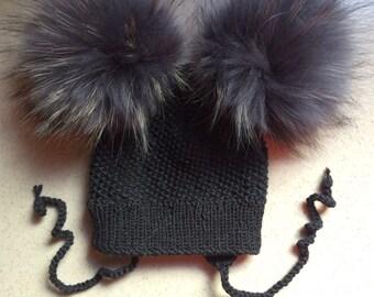 Grey Wool Baby Hat - Double Grey Raccoon Fur Pom Poms - Baby Hat - Hand Knit - Ear Flaps