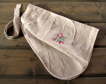 LINEN APRON Soviet Vintage linen Apron White Half Kitchen Apron Embroidered Flowers roses and laces Latvian eco apron Kitchen handmade