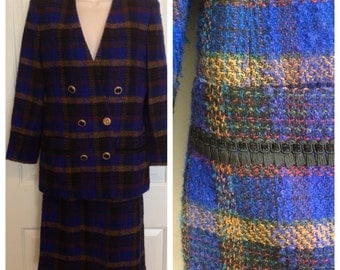 VINTAGE Albert Nipon Skirt Suit Boucle Small double breasted 80s