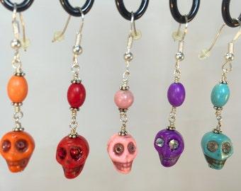 Stone Skull Earrings| Five Colors of Stone Skull Earrings| Orange Skull Earrings| Skull Earrings with Bead Eyes| Halloween Skull Earrings