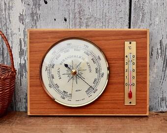 Vintage weather station barometer thermometer GDR Fischer