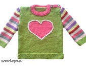 Baby sweater; jumper; jersey, hand knitted. Heart...